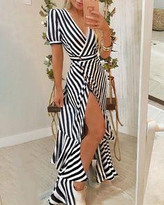 Vestido maxi con cuello cruzado estampado tropical (S/M/L/XL) $30.99