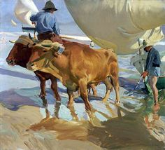 """Joaquin Sorolla y Bastida Spanish, 1863 - 1923 Oxen on the Beach, 1910 """"They"""" tell us that as of yesterday, summer is over. Yet, when you lose yourself in a painting . Spanish Painters, Spanish Artists, Claude Monet, Figure Painting, Painting & Drawing, Valencia, Memorial Art Gallery, Madrid, Cow Art"""
