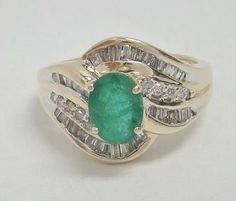 14K YELLOW GOLD RING NATURAL 1.25 CT OVAL EMERALD .50 CTTW DIAMOND 6.6g SZ 7.25 #Cocktail