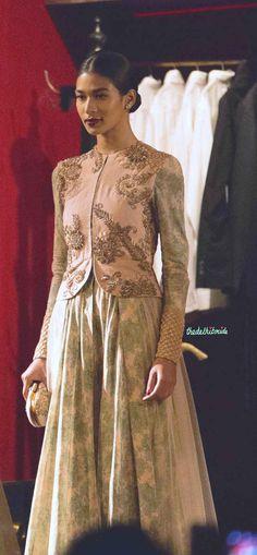 Vintage duck egg blue floral and pink jacket 2 Sabyasachi India Couture Week 2014