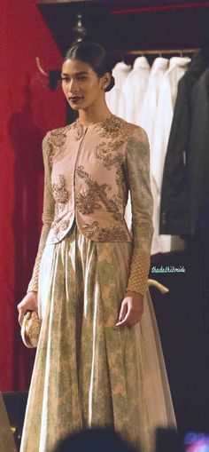 Vintage duck egg blue floral and pink jacket 2 Sabyasachi India Couture Week 2014