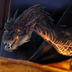 """The Hobbit Smaug Dragon """"You Have Nice Manners For A Thief"""" Fan Art Prints and Posters Mythological Creatures, Fantasy Creatures, Mythical Creatures, Hobbit Art, O Hobbit, Smaug Dragon, Fire Dragon, Dragons, J. R. R. Tolkien"""