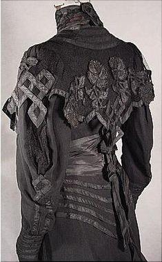 Antique Dress - Item for Sale  c. 1904 Black Etamine Fancy Trained Reception Gown appliqued in Taffetas