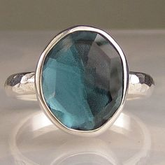 Rose Cut London Blue Topaz Ring in Sterling $134 Etsy