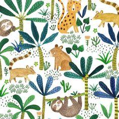 Jungle pattern by artist Rebecca Jones Jungle Pattern, Motif Jungle, Illustration Jungle, Pattern Illustration, Kids Patterns, Textures Patterns, Print Patterns, Surface Pattern Design, Pattern Art