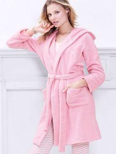 Roupão Victoria's Secret Women's Plush Fleece Short Robe Pink Flirt Pink Stripe #Roupão #Victoria's Secret