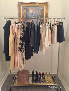 TidyFairy Garment Rack Capsule Wardrobe for Exposed Clothing in a Small Space Solution for a Closet Alternative