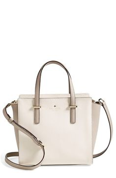 Fantastic neutral Kate Spade tote for spring. The subtle contrasting color makes it special.