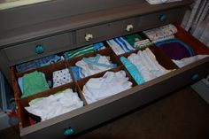Nursery Drawer Organizer:  could just imagine digging in the middle of the night for a onesie and coming up with a handful of the wrong size because they had gotten all jumbled together. {yes- that would be a TOTAL nightmare for a person with an A+personality- aka moi} So what did I do to remedy the problemo??  Well I googled DIY Drawer Organizers of course!
