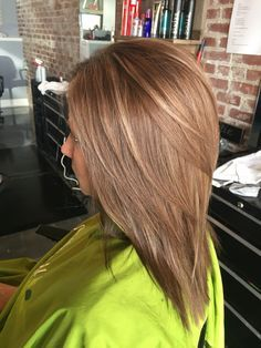 Beautiful warm light brown all over with caramel lowlights and subtle light blonde highlights. #aloxxi #kreationsbykatie