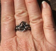 "fine silver ring - my latest favorite piece of jewelry.  Want to make a really wide one (this one was my ""learning how"" piece)"