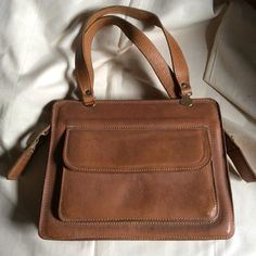 Vintage 1970s natural light tan leather handbag. by coolclobber