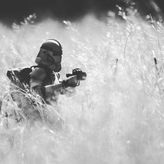 The Long Grass:  A clone trooper patrols with the rest of his squad through high brush on Felucia in the outer rim territories.  #toyphotography #starwars #clonewars #galacticwarfighters