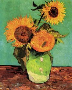 Vincent Van Gogh   Arles (1888-1889)    Three Sunflowers in a Vase