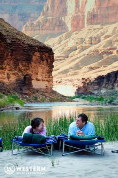 Relax on the sandy beaches of the Grand Canyon while on a rafting trip with Western River Expeditions #Vacation #couples