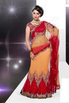 USD 134.72 Red and Yellow Net Embroidered Designer Lehenga Saree  31669