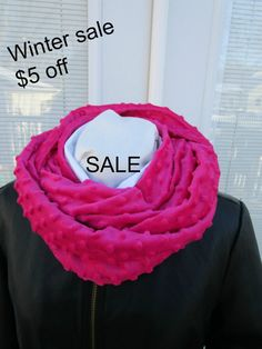 Warm winter scarf Bright pink Minky by PrairieFlowerCreate on Etsy