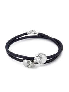 Navy Blue Leather/ Silver Skull Double Wrap bracelet