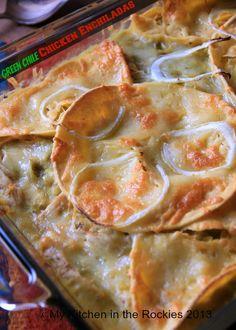 Stacked Green Chile Chicken Enchiladas by Kirsten | My Kitchen in the Rockies