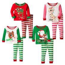Girls Clothing Sets Christmas 2016 New boys Sets Kids Clothes Cotton Christmas Reindeer Candy Long-sleeved Suits(China (Mainland))