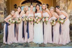 #bridesmaids, #blushpink, #peach, #hydrangeas, #roses,