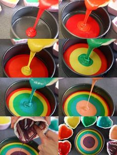 A rainbow cake is fun to look at and eat and a lot easier to make than you might think. Here's a step-by-step guide for how to make a rainbow birthday cake. Rainbow Birthday, 5th Birthday, Fete Marie, Tie Dye Cakes, Rainbow Food, Rainbow Desserts, Rainbow Treats, Rainbow Things, Savoury Cake
