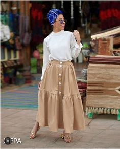 Spring skirts with hijab style – Just Trendy Girls - Islamic Fashion, Muslim Fashion, Modest Fashion, Skirt Fashion, Hijab Fashion, Fashion Outfits, Hijab Dress, Hijab Outfit, Long Skirt Outfits