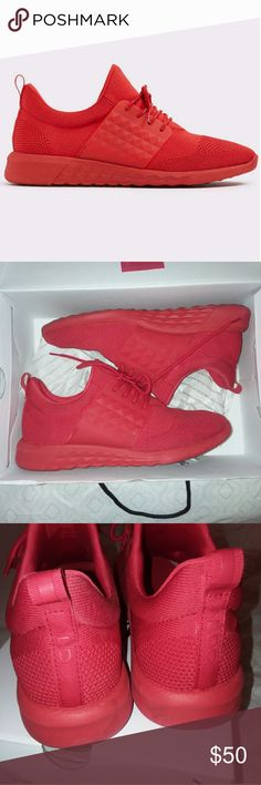ALDO Red Mx Sneakers Worn once for a red party at my job. Very clean inside and out, no odor, smoke and pet free home. I'll ship in original box and include the sneaker bag for free. I never took it out of the packaging. These are a size 8 but are sized generously and will fit an 8.5. Aldo Shoes Athletic Shoes