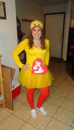 super easy halloween costume! ty duck beanie baby!