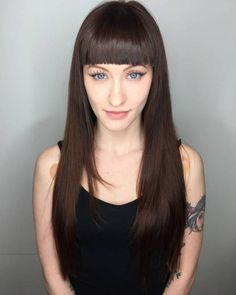 Long Straight Hair With Blunt Bangs