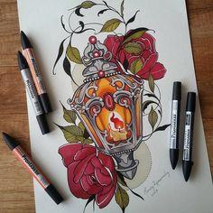 Neo Traditional Tattoo - Bildideen tattoo for men tattoos tattoo tattoo japones tattoo tattoo traditional Neo Traditional Roses, Neo Traditional Tattoo, Traditional Tattoo Drawings, American Traditional, Ink Tattoo, Body Art Tattoos, Lamp Tattoo, Tattoo Flash, Leg Tattoos