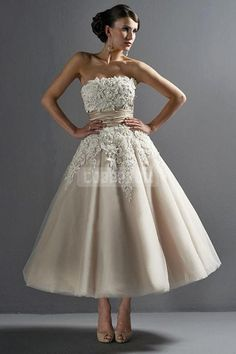 Strapless Lace Sash Tea-length Vintage Wedding Dress