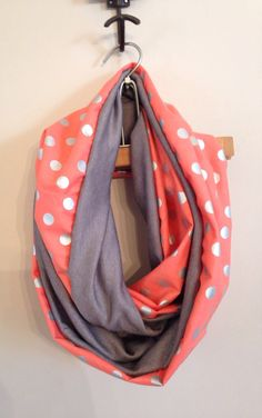 Coral and Charcoal Infinity Scarf by KutKloth on Etsy, $15.00