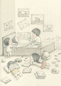 girl, cute and boy image on We Heart It Sweet Drawings, Cute Disney Drawings, Pencil Art Drawings, Art Sketches, Boy Images, Art N Craft, Character Drawing, Children's Book Illustration, Illustrations And Posters