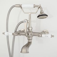 Wall-Mount Telephone Faucet & Hand Shower - Porcelain Lever Handles