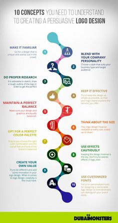 Business infographic : 10 Concepts You Need to Understand to Creating a Persuasive Logo Design Graphisches Design, Graphic Design Tips, Tool Design, Graphic Designers, Design Process, Logo Process, Branding Process, Logo Design Tipps, Branding Design