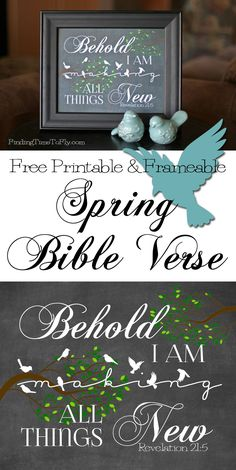 All Things New! What a beautiful way to display a Bible verse for Spring! This one can be printed in 8x10 or 5x7 sizes. Printable Bible Verses, Scripture Art, All Things New, Chalkboard Art, Walk By Faith, Word Of God, Making Ideas, Free Printables, Invitations