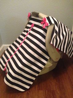 Carseat Canopy with matching baby blanket by LilacsAndLeopards