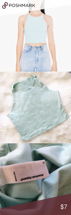 American Apparel Mint Sleeveless Crop Top Only worn once! Classic sleeveless tank crop top from American Apparel featuring a fitted neckline and mint color. American Apparel Tops Crop Tops