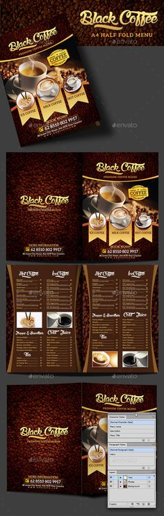 Black Coffee Half Fold Menu Design Template - Food Menus Print Template AI Illustrator. Download here: https://graphicriver.net/item/black-coffee-half-fold-menu-/17305365?ref=yinkira