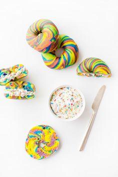Funfetti Cream Cheese + Rainbow Bagels!