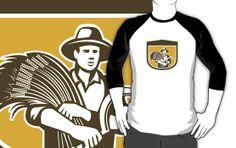 Wheat Farmer With Scythe and Crop Harvest Retro by patrimonio