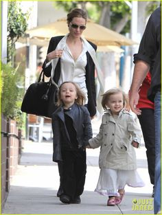 Angelina Jolie & her twins (Knox & Vivienne). So cute!  :)
