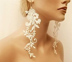 Lace Jewelry, just cut out the lace design and length then use fabric stiffener. So easy! And beautiful! Wedding jewelry for earrings or necklace!