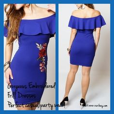 zuribay DRESSES Perfect Party /Casual/Formal Wear Royal Blue Frill Overlay Dresses Gorgeous Outfit visit www.zuribay.com