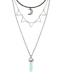 Moon Blue Crystal & Triangle Layered Necklace,