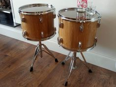 Upcycled Furniture. Matching Pair of Shabby Chic Drum Tables With Glass Tops. Perfect Gift For Musicians & Drummers. Fun With Style by TowerAngel on Etsy