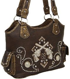 Western Purses With Crosses On Them Guns Pistols Cross Rhinestone Purse Brown Previous In