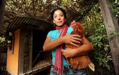 Esperanza Pallana, owner of Pluck & Feather Farm and co-founder of the East Bay Urban Agriculture Alliance, holds one of the chickens she raised in the backyard of her Oakland, Calif., home on Monday, Oct. 3, 2011. Photo: Noah Berger, Special To The Chronicle