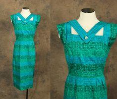vintage 50s Dress  Blue Green Wiggle Dress  1950s by jessamity, $88.00